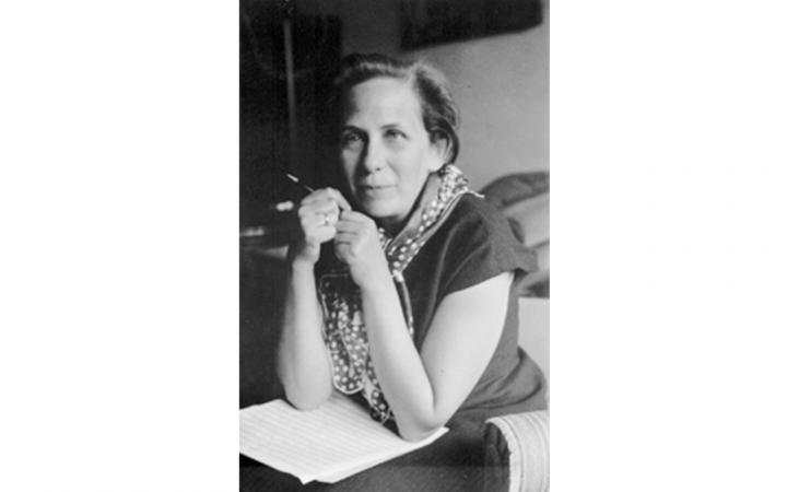 Ein Schwarz-Weiß-Foto der Komponistin Felicitas Kukuck