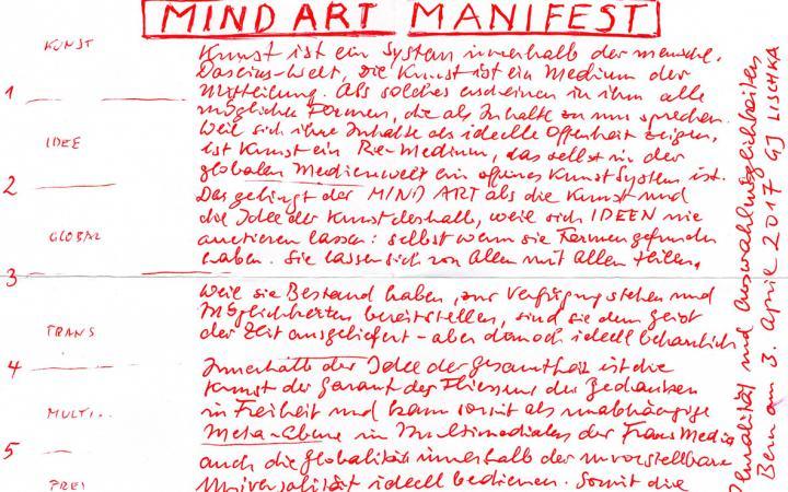 """Archivale von Gerhard Johann Lischka, überschrieben mit """"Manifest Mind Art"""""""