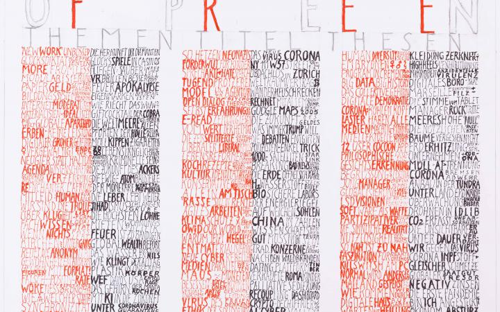 """Das Bild zeigt viel Schrift. Es steht geschrieben: """"Freie Gedanken"""", darunter steht in Rot """"Free"""" und mit Bleistift """"open"""". Darunter steht """"Themen"""", """"Titel"""", """"Thesen"""", die jeweils unter sich eine rot-schwarze Säule aus Nomen versammeln."""