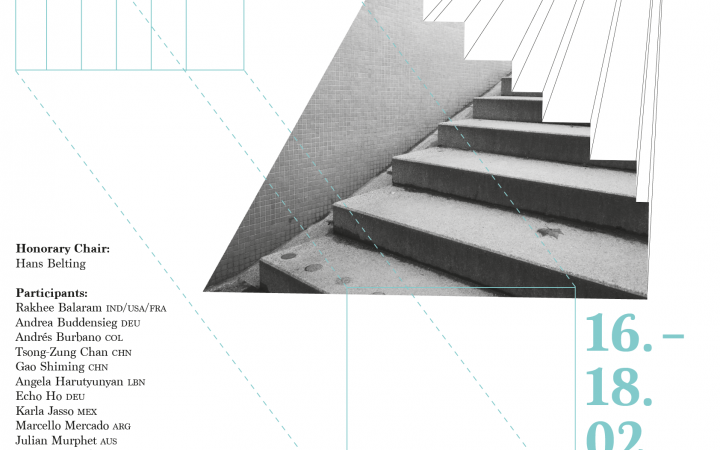 A picture-typo collage with the inscription »Potential Spaces«, lines and a staircase can be seen.