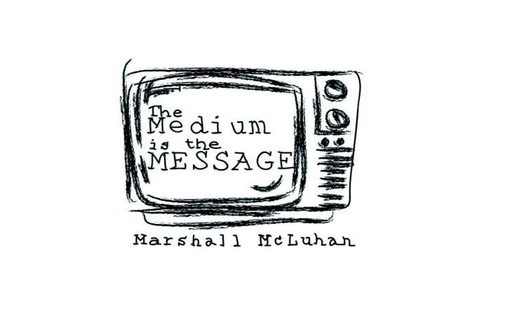 Zeichnung eines Fernsehers mit dem Text »The Medium is the Message«