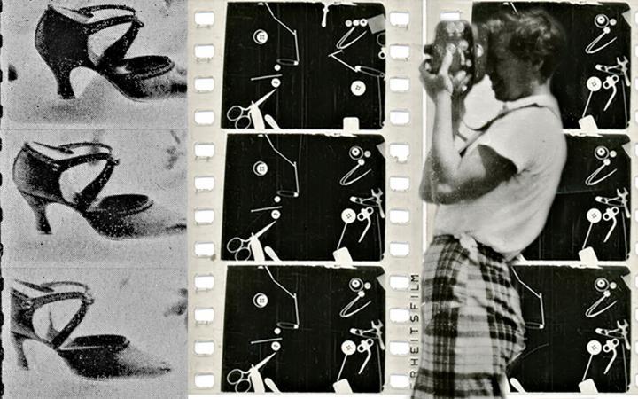 Eine Fotomontage aus drei Filmstreifen in schwarz-weiß, davor eine Person mit Kamera.