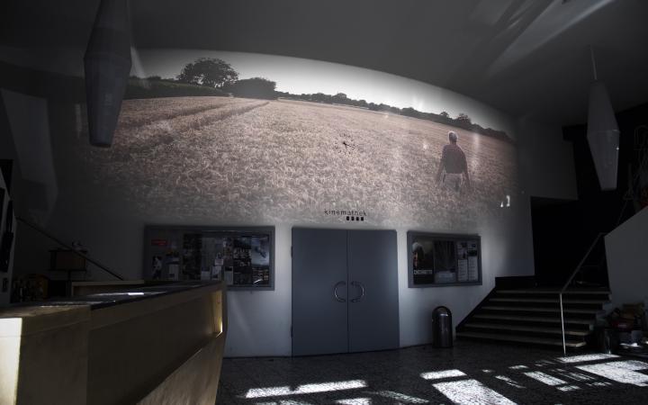 Im Foyer der Kinemathek ist eine große Videoprojektion an der Wand über dem Eingang zum Kinosaal zu sehen. Die Projektion zeigt ein Ährenfeld, an dessen Horizont Himmel und eine Baumspur zu sehen sind. Im Feld ist ein Mensch mit dem Rücken zum Betrachter.