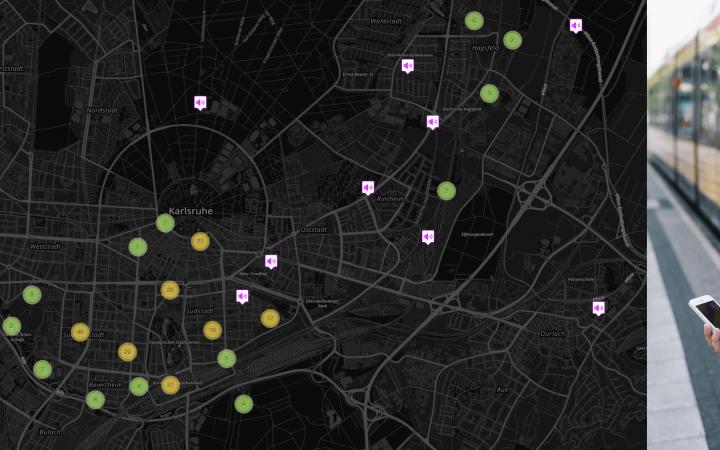 Eine Frau mit Kopfhörern und Handy vor einer Straßenbahn und daneben Screenshot der App »My City, My Sounds«: Stadtkarte mit Symbolen