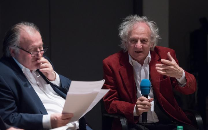 Peter Weibel and Siegfried Zielinski at the discussion forum