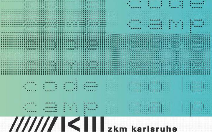 On a mainly turquoise ground fields of ones and zeros form the words »code« and »camp«.