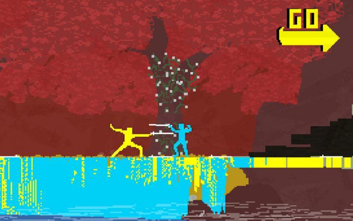 Zwei Figuren aus grünen und türkisen Pixeln kämpfen gegeneinander mit Schwertern