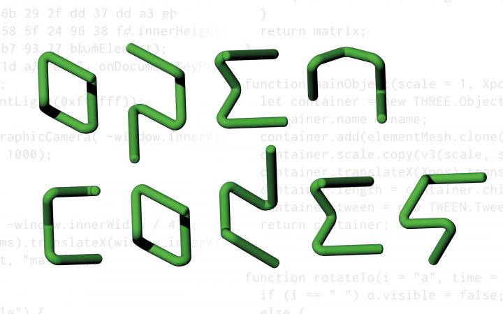 The lettering Open Codes in green