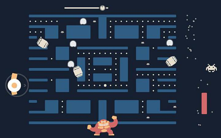 A pac man labyrinth with Space Invaders and Pong characters