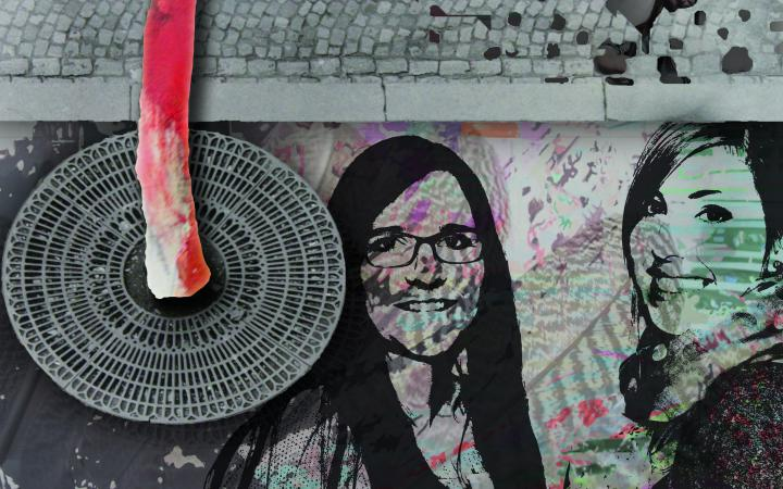 A digital collage with two portraits of women, a sidewalk and a gully cover.