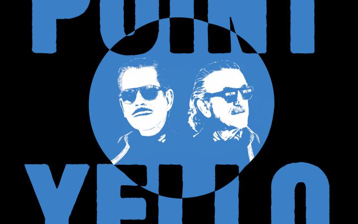 """The album cover of """"Point"""" by the music duo Yello. Above is """"Point"""", below is """"Yello"""" and in the middle is a circle, which represents the silhouette of the two heads of the musicians."""