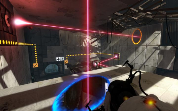 Futuristic space with red rays from the first-person perspective