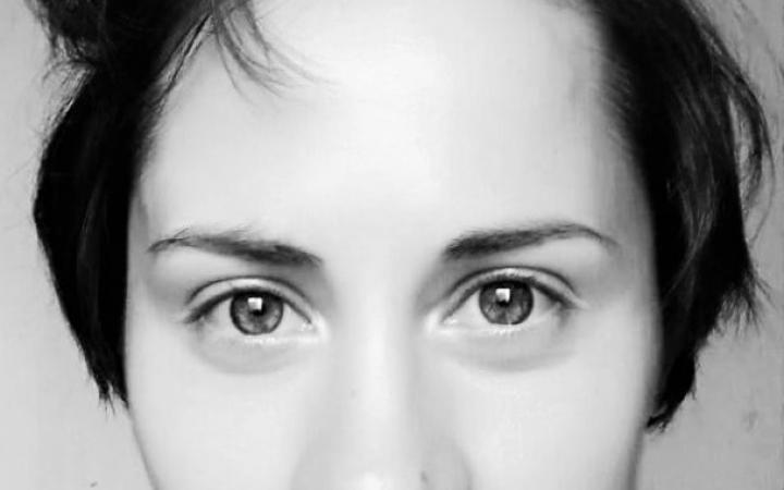 Black and white portrait of Alexandra Portyannikova.