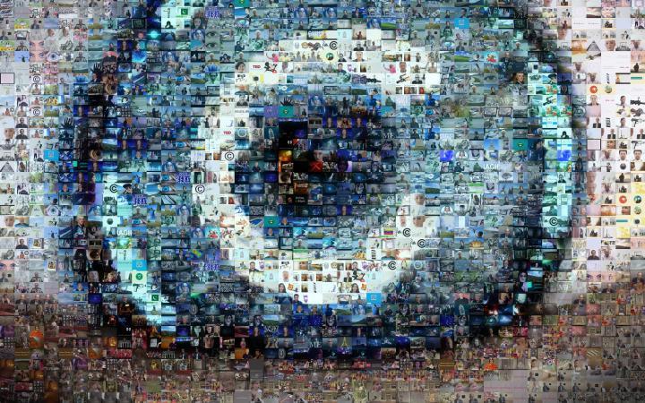 Das Filmplakat zu »Der illegale Film«zeigt ein Auge, dass aus vielen kleinen Fotos besteht.