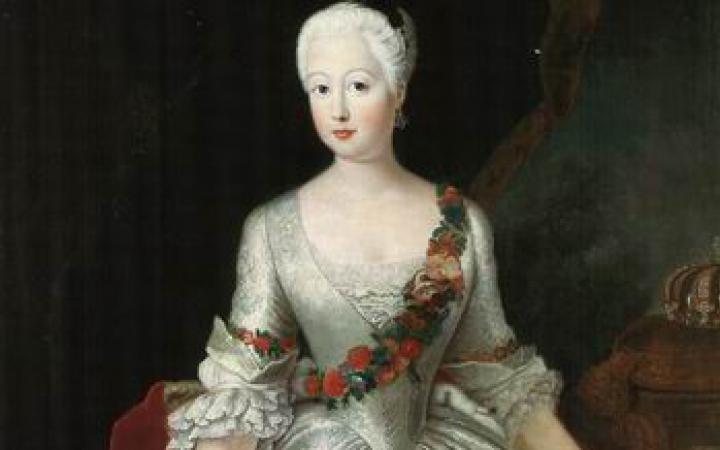 Zu sehen ist ein Gemälde der Prinzessin Anna Amalia von Preußen.