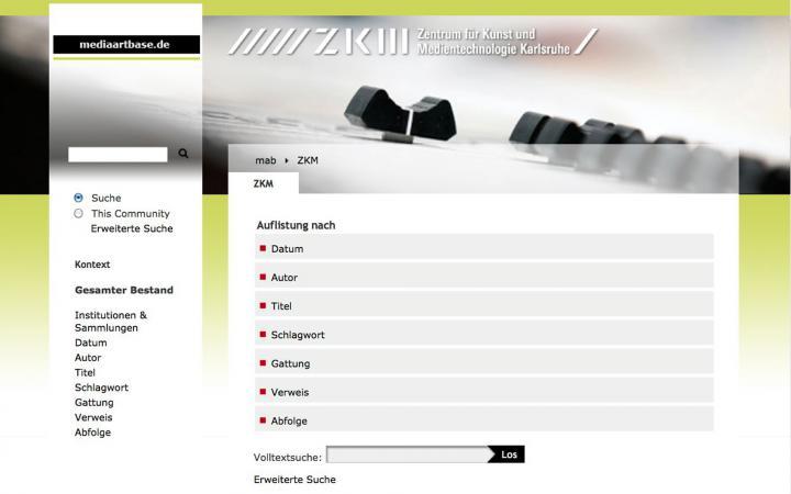 Screenshot der Website »mediaartbase.de«