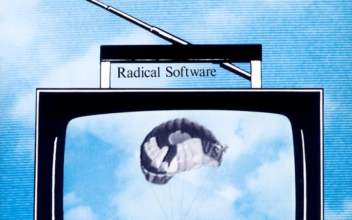 """The drawing shows the cover of the magazine """"Radical Software"""". You can see an old TV set in front of a sky. The screen shows a parachute jumper."""