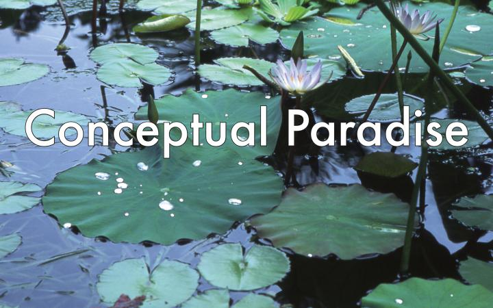 Foto eines Teichs mit Seerosen. Davor in Weiß der Text »Conceptual Paradise«.