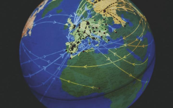 Globe with Europe on its center