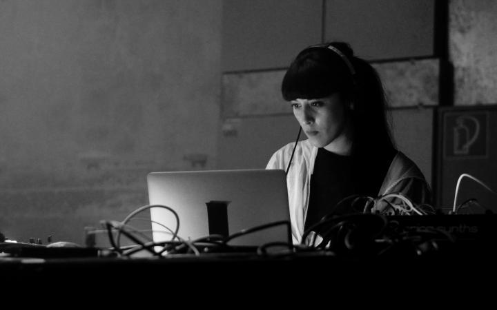 Zu sehen ist eine Frau mit langen Haaren, welche konzentriert auf einen Laptop schaut, welcher vor ihr auf dem Schreibtisch steht.