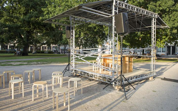 The installation »Spacecraft_ZKM« consisting of a stage scaffold and chairs.