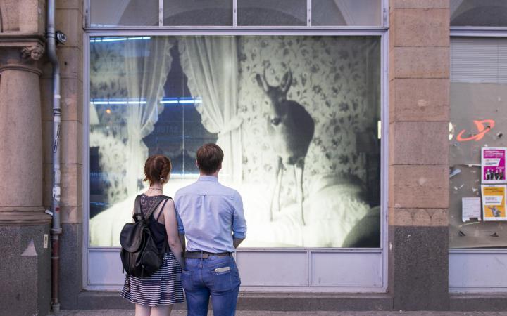 Ein Pärchen steht vor einem Schaufenster, im Schaufenster ist ein Schwarz-Weiß-Foto eines Rehs, dass auf einem Bett steht zu sehen.