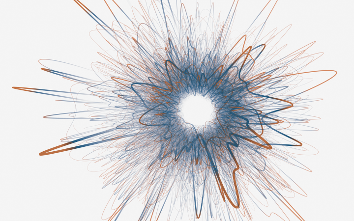 A visualization of a network is shown. The shape of the network reminds of a star that explodes.