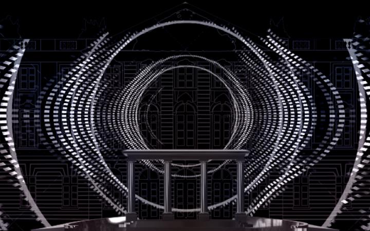 Zu sehen ist eine Visualisierung des beleuchteten Karlsruher Schlosses. Projiziert wurden schwarz-weiße Linien und Punkte, die an die Ausbreitung einer Schallwelle erinnert