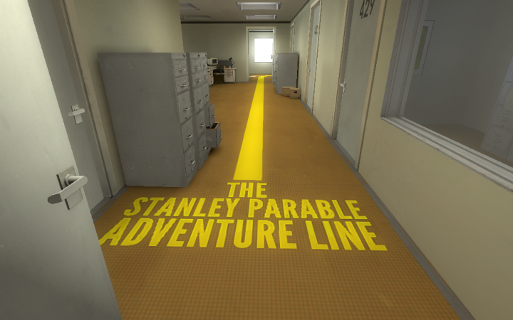 A path in an office corridor with the Text »The Stanley Parable Adventure Line«