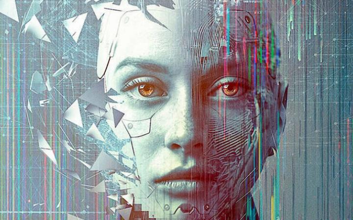 Graphic of a gray-blue woman's face breaking into parts. Behind it circuit paths of a circuit board.