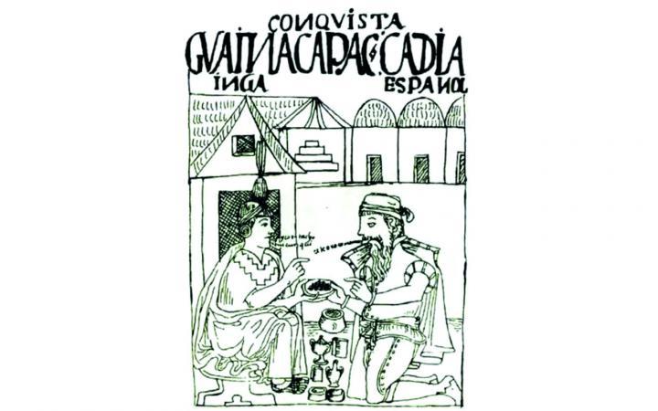 Eine Zeichnung aus dem 17. Jahrhundert. Eine einfache Häuserreihe im Hintergrund und im Vordergrund sitzen zwei Männer. Der Mann links trägt traditionelle Kleidung des Aymara-Volkes und der Mann rechts trägt traditionelle Kleidung der spanischen Krone.