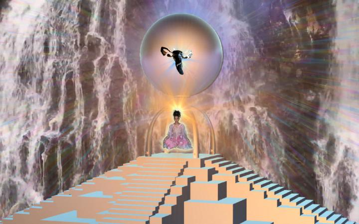 A woman floats in a lotus seat above a pyramid.