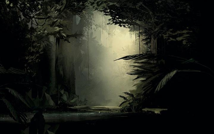 The picture shows a primeval forest through which a river meanders.