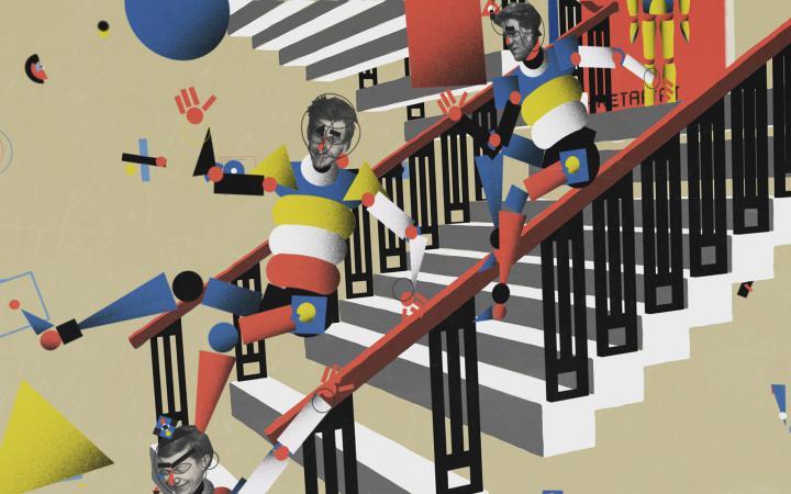 Figurencollage in Bauhaus-Farben
