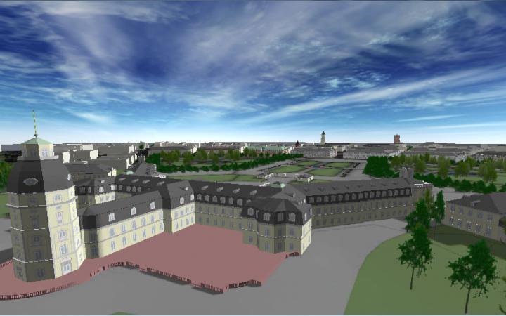 Eine virtuelle Ansicht der Rückseite des Karlsruher Schlosses