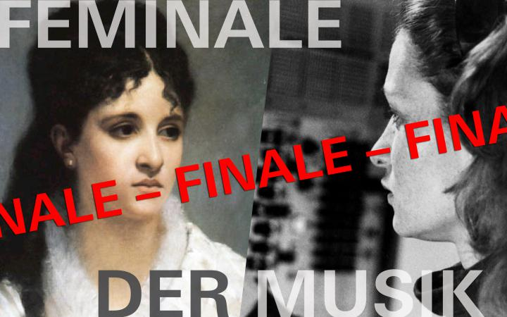 The text »Feminale der Musik« with two portraits of women, one lady in an 18th century painting and the second in a 20th century photograph.