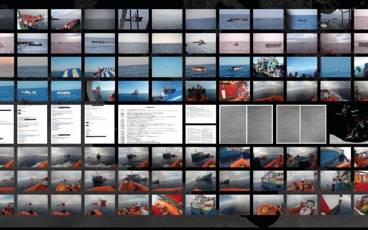 Digitale Bildercollage, abgebildet sind Screenshots von Texten und viele Fotos eines Schiffs auf dem Meer.