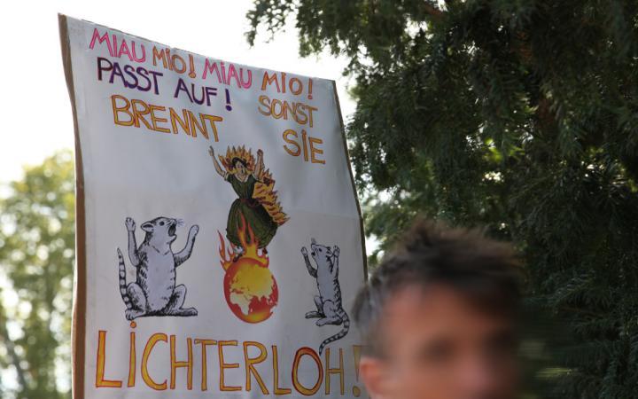 Das gezeigte Plakat wurde während der Demonstration von Fridays for Future am 20. September 2019 von SchülerInnen hochgehalten. Auf ihm ist eine brennende Weltkugel zu sehen.