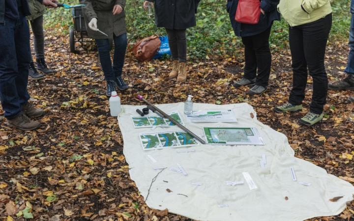 Eine Gruppe Meschen steht im Kreis um Karten und andere Gegenstände herum, die auf dem Waldboden verteilt sind.