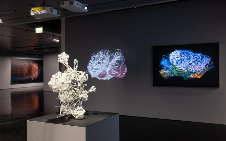 In the foreground is a medium-sized sculpture showing a network with many nodes. Behind her are projections of networks in the form of a mouse brain.