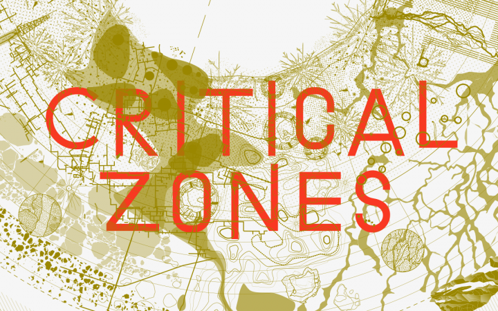 Graphic for the exhibition »Critical Zones« at the ZKM Karlsruhe. In orange you can read »Critical Zones«, above a beige abstract map.