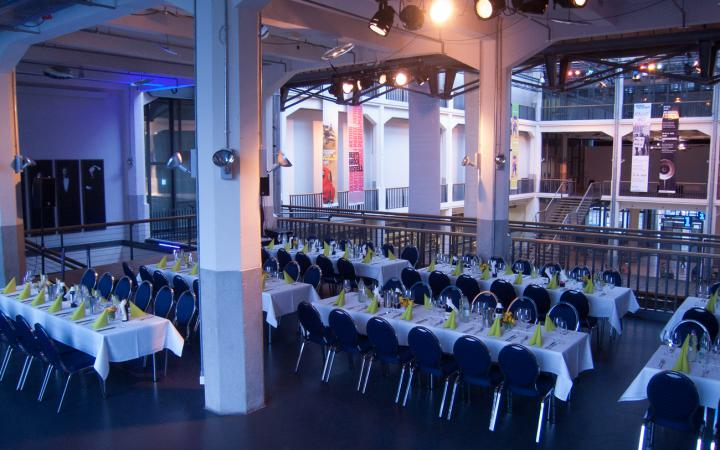 The ZKM_Music Balcony with festively decorated tables