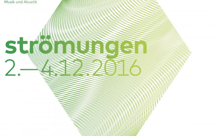 Poster to the symposium »Strömungen«, green rhombus and text