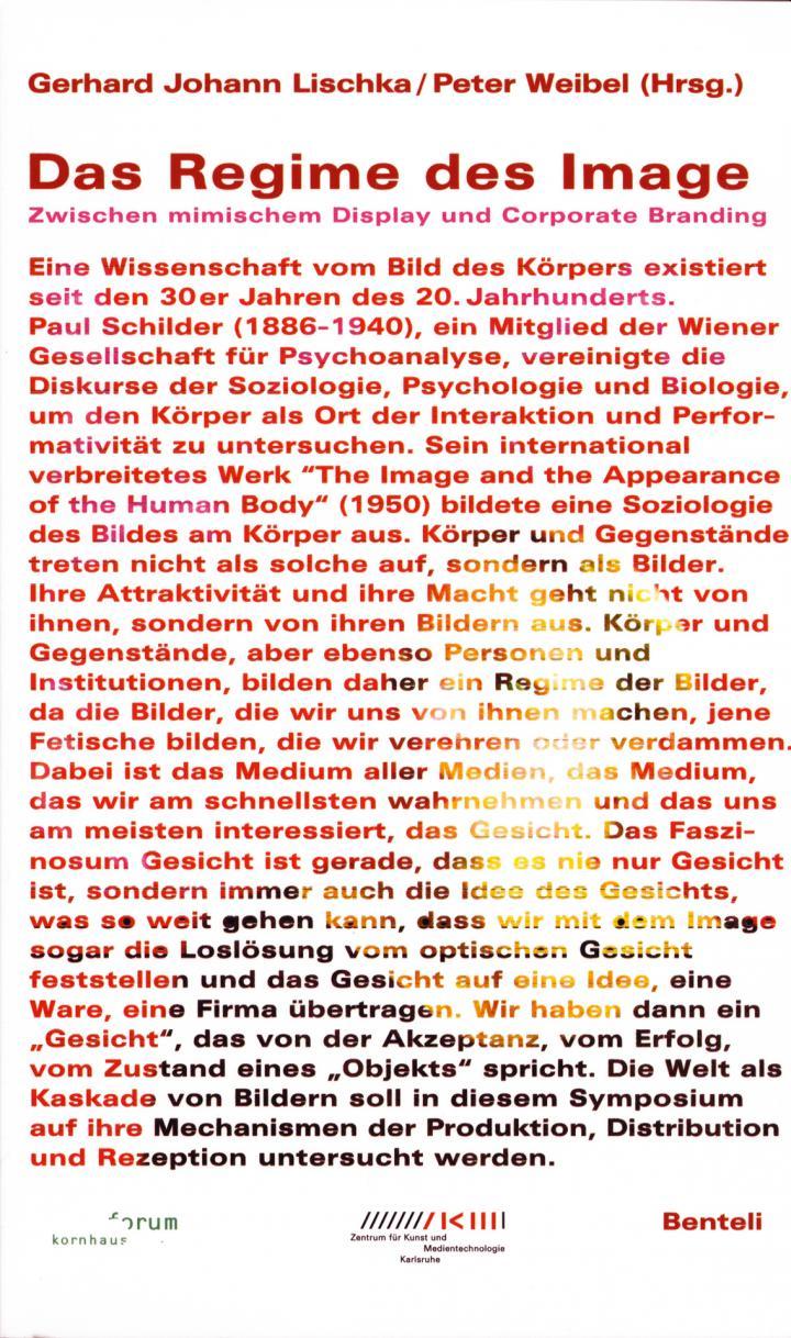 Cover of the publication »Das Regime des Image«