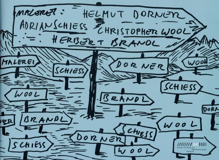 Cover of the publication »Malerei: Herbert Brandl – Helmut Dorner – Adrian Schiess – Christopher Wool«