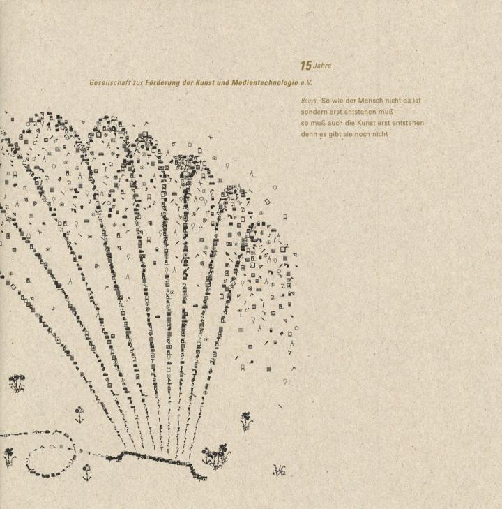 Cover der Publikation »15 Jahre Gesellschaft zur Förderung der Kunst und Medientechnologie e.V.«