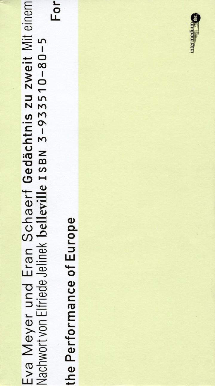 Cover der Publikation »Gedächtnis zu zweit. For the Performance of Europe«