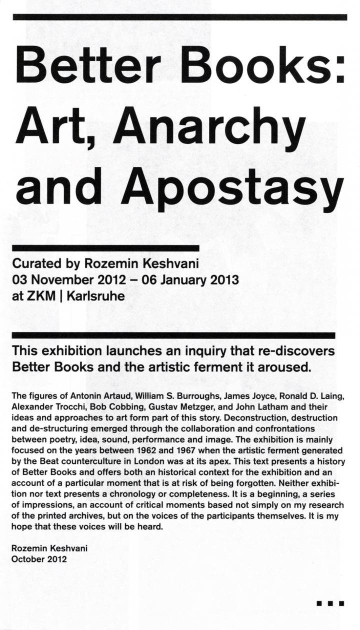 Cover der Publikation »Better Books: Art, Anarchy and Apostasy«