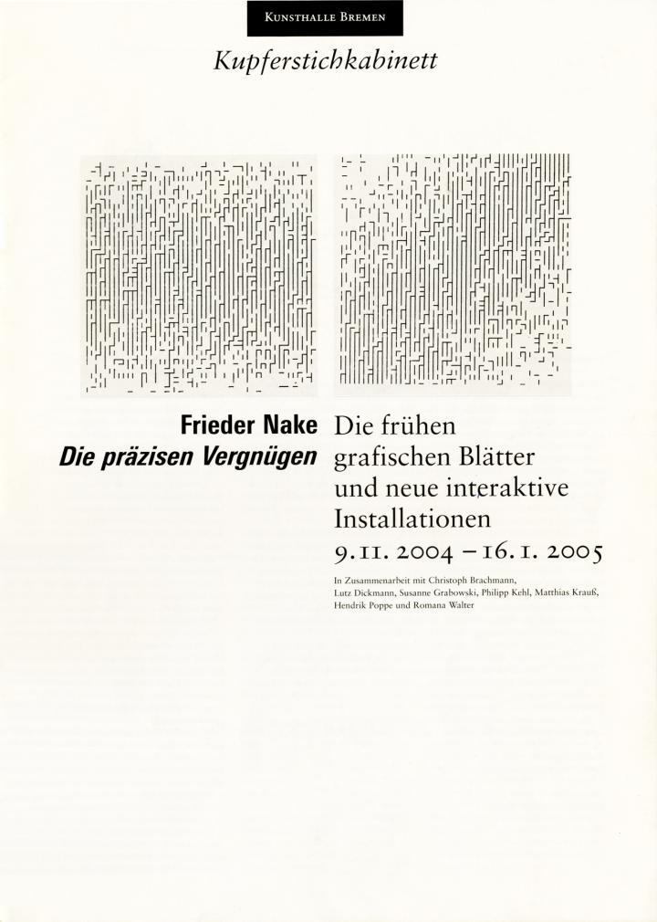 Cover der Publikation »Frieder Nake: Die präzisen Vergnügen«