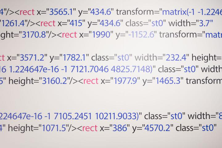 Source code in black, blue and pink.
